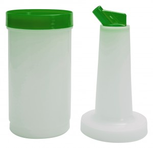 Optimized-3321G Save & Pour Quart - Green with lid attached