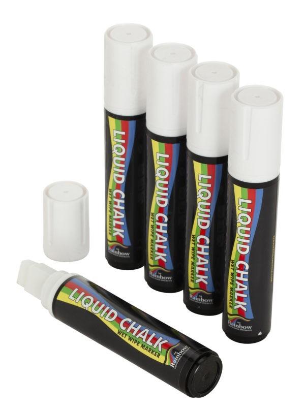 15mm Chisel Tip Chalk Pen White PK 5