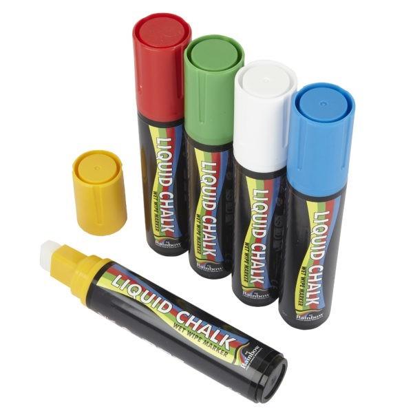 15mm Chisel Tip Chalk Pen Mixed Colours <Br>PK 5