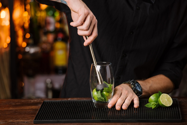 Muddlers in a bar setup
