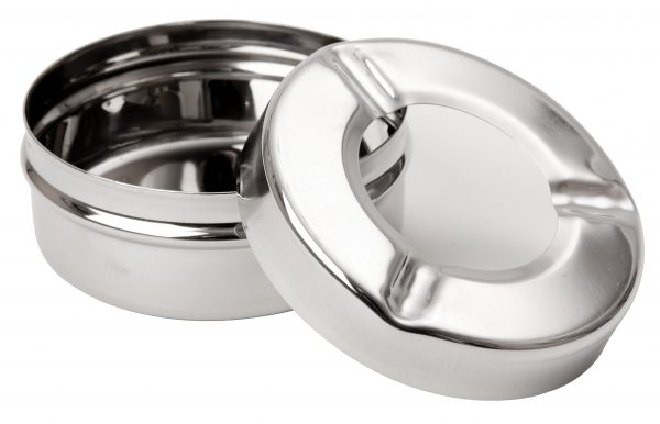 3706P 3.5inch Stainless Steel Windproof Ashtray PK24 - OPEN
