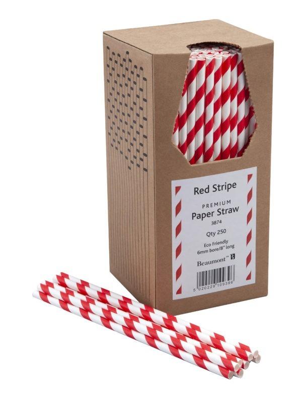 8″ Red & White Striped Paper Straws  PK250