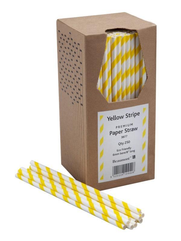 8″ Yellow & White Striped Paper Straws PK250