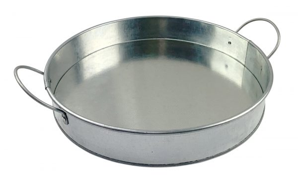 12″ Round Serving Platter Galvanised Tin