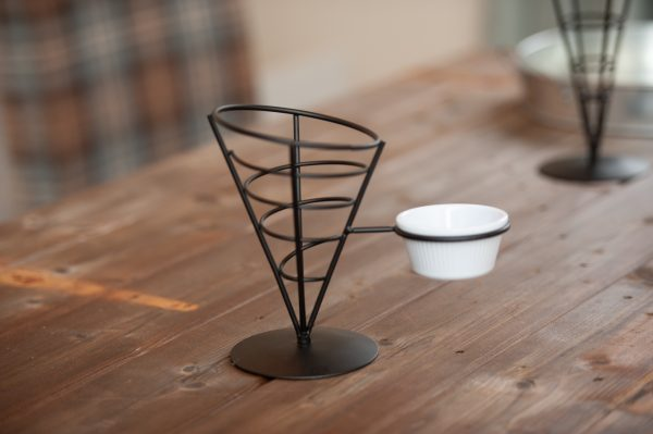 French Fry Cone With Ramekin Holder Black Wire