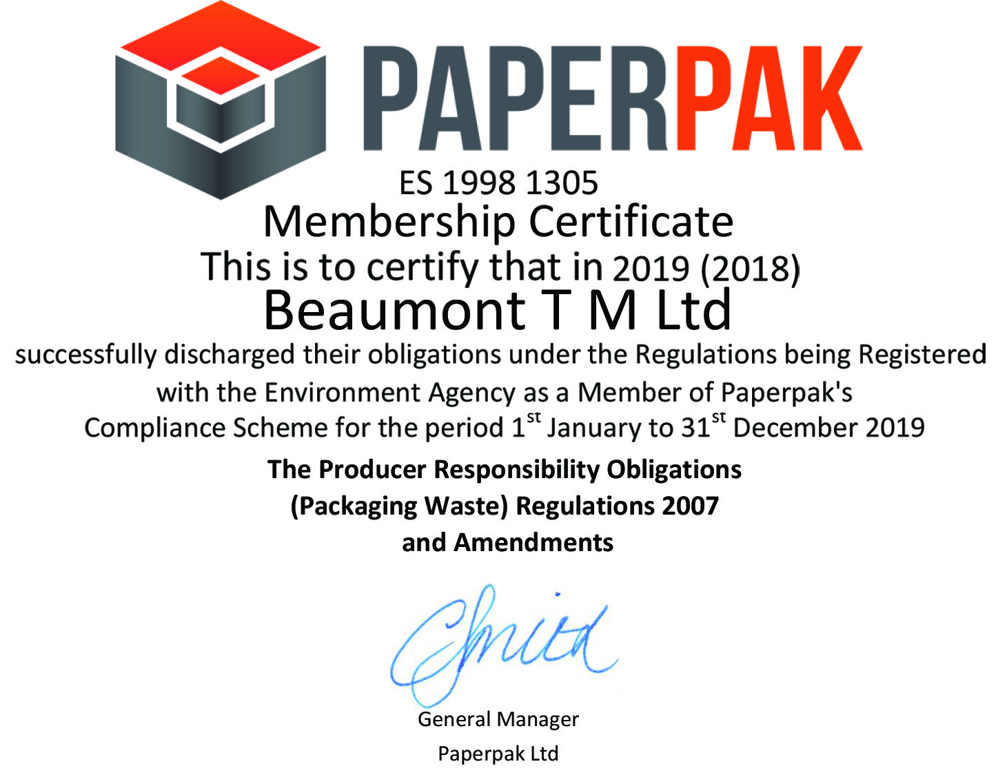 Beaumont TM Ltd Paperpack Cert